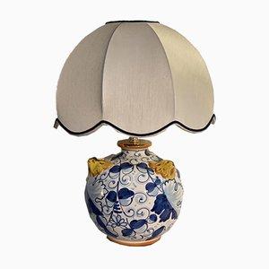 Lampada da tavolo vintage con corpo in ceramica decorato a mano