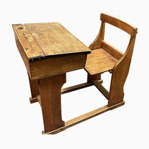 Vintage School Desk & Seat, Set of 2