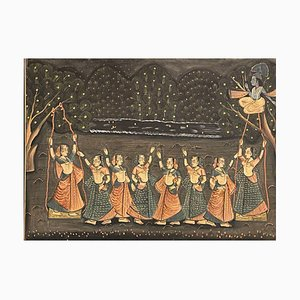 Indischer Batik, Gemälde auf Seide