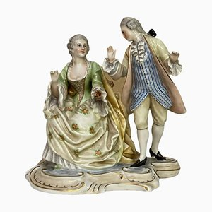 Antique Marked Ceramic Courtiers by Ginori for Capodimonte