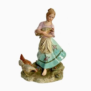 Vintage Peasant with Hens in Ceramic from Capodimonte