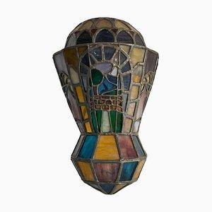 Applique antiche in vetro piombato e decorato, anni '20, set di 2