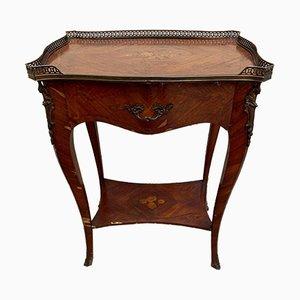 Comodino in stile Napoleone III con intarsi in legno, inizio XX secolo