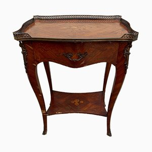 Napoleon III Style Bedside Table Inlaid with Precious Woods, 1900s
