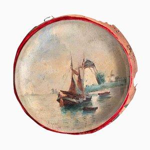 Marine Gemälde auf Karton, 2er Set