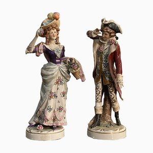 Ceramics Depicting Lady and Knight from Capodimonte, Set of 2