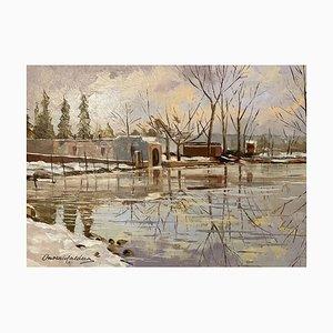 Onorato Caldera, Lago di Monate, Bemaltes Öl auf Tafel mit Schneefall, 20. Jh