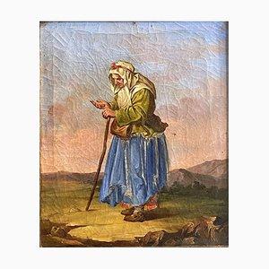 Salvatore Mazza, Antike Bettler Gemälde, Öl auf Leinwand