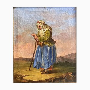 Salvatore Mazza, Antique Beggar Painting, Oil on Canvas