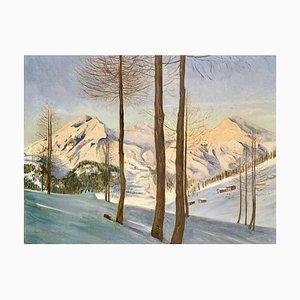 Montagne innevate, Öl auf Leinwand, 19. Jh