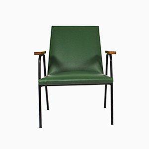 Poltrona de cuero sintético verde de Pierre Guariche, años 50