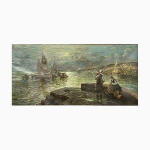 Marina von Roberto Vannini, Öl auf Leinwand