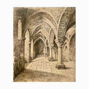 Kohlezeichnung, Innenraum eines Kirchenschiffs