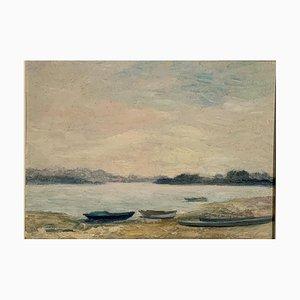 Morning Light am Lago Maggiore, Öl auf Holz, 20. Jh