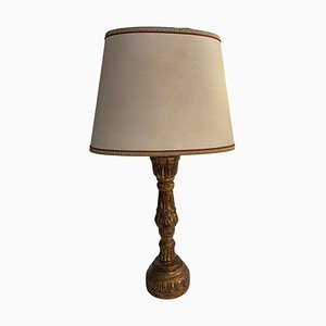 Lampada antica con base in legno, XIX secolo