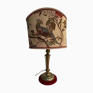 Lampada antica con base in ottone e paralume in tessuto decorato, inizio XIX secolo