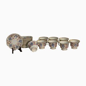 Large French Louis Philippe Coffee Service in White Porcelain, Late 1800s
