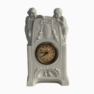 Orologio da tavolo vintage in ceramica bianca di Capodimonte