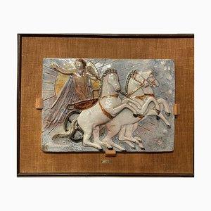 Handbemalte Keramikplatte auf Rahmen von S. Caslini