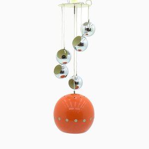 Vintage Chrome and Orange Cascade Pendant, 1970s
