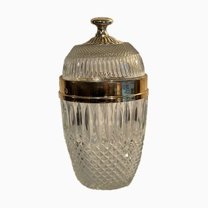 Porta caramelle vintage in cristallo con dettagli in bronzo