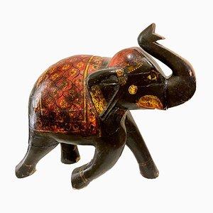 Indische Holzskulptur eines zeremoniellen Elefanten