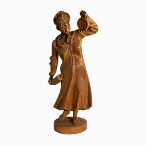 Statua tirolese vintage in legno