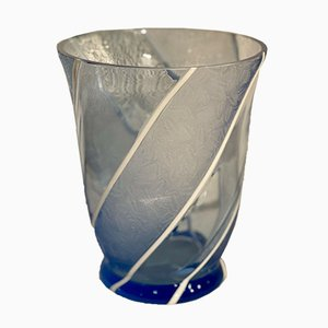 Vintage Blue Vase with White Lines