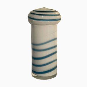 Vintage Murano Glas Vase mit weißer und blauer Spirale