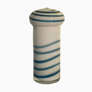 Vintage Murano Glass Vase Decorated with White and Blue Spiral
