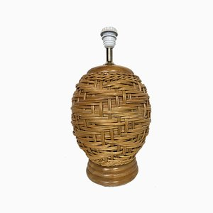 Vintage Rattan Table Lamp, 1970s, Italy