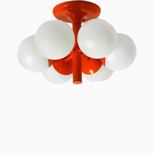 Space Age Metal Ceiling Lamp with 6 Glass Balls from Kaiser Leuchten, 1960s