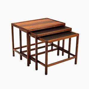 Tavolini ad incastro in palissandro di Kurt Østervig per Jason Møbler, anni '60, set di 3