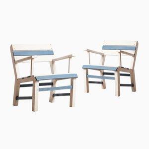 Sedie da giardino vintage in legno, anni '60, set di 2