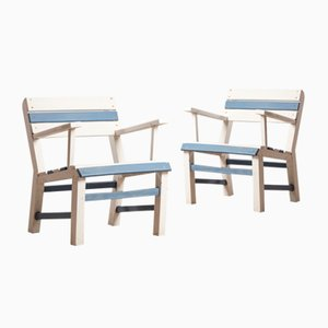 Vintage Wooden Garden Chairs, 1960s, Set of 2