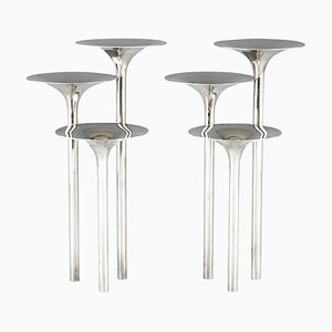 Mid-Century Silvered Flower Stands or Candleholders by Lino Sabattini for Gallia Christofle, 1957, Set of 2