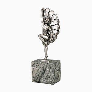 Art Deco Tänzerskulptur aus versilberter Bronze mit Federn von H. Molins, 1930er
