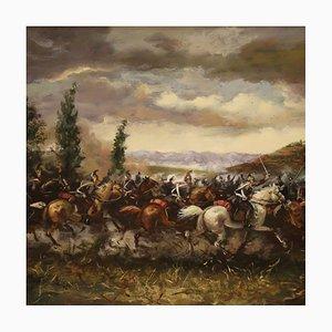 Schlacht Gemälde, Öl auf Leinwand, 20. Jh