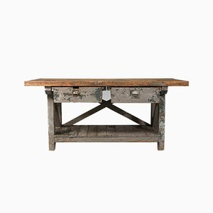 Large Antique English Pine Silversmith's Bench