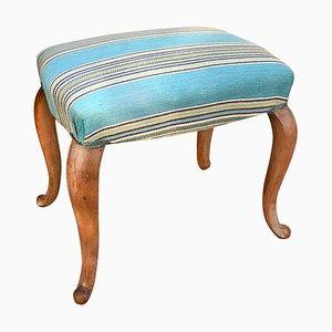 Puf italiano de madera y tela, años 50