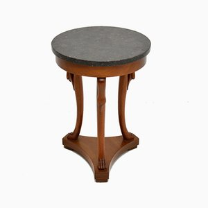 Antique Neoclassical Style Walnut Side Table with Marble Top