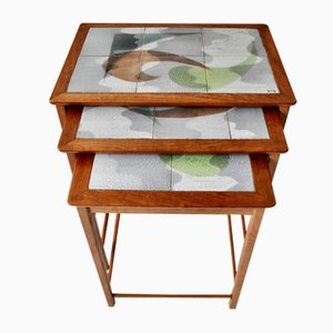Mid-Century Teak Nesting Tables with Decorated Tiles, Set of 3