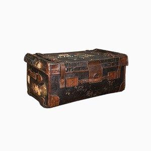 Baúl de viaje inglés vintage de cuero, años 30