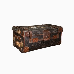 Vintage English Leather Overseas Voyage Trunk, 1930s