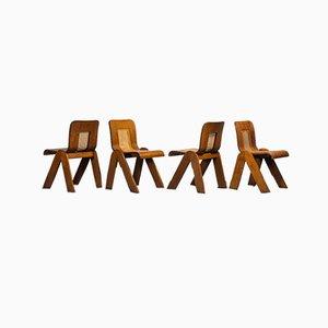 Sedie vintage in legno e paglia, Austria, anni '60, set di 4