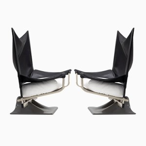 Aeo Leather Chairs by Archizoom from Cassina, Set of 2