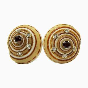 Red Tourmaline & Diamond Round Seashell Earrings from Berca