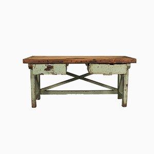 Mesa de platería inglesa antigua grande de pino