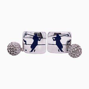 Marineblaue emaillierte Golfspieler Manschettenknöpfe aus Sterling Silber von Berca