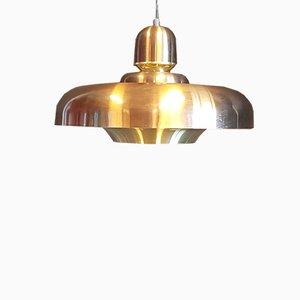 Lampada a sospensione in alluminio color oro e bronzo, Danimarca, anni '70